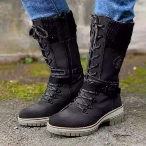 2021 Winter New Women's PU Stitching Lace Up Zipper Middle Sleeve Boots Waterproof Snow Boots Comfortable Hot Sale
