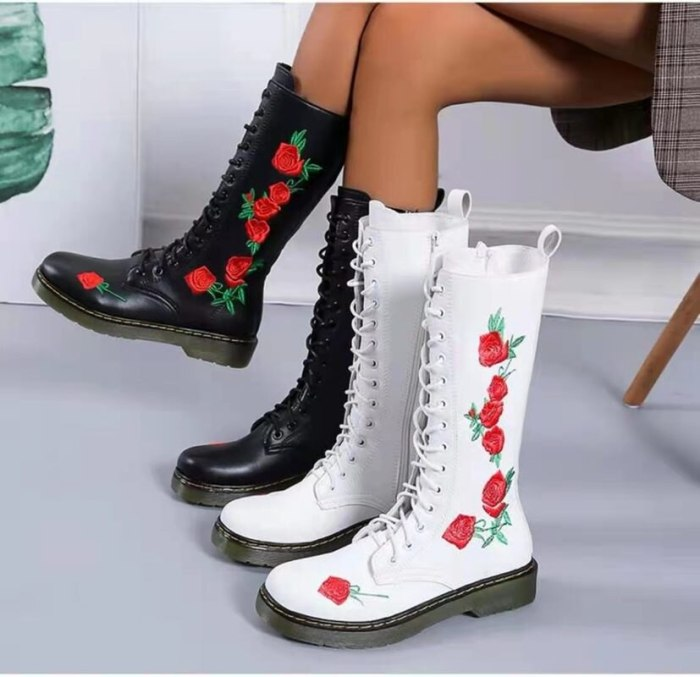 Beige Mid Calf Embroidered Embroidery Big Size Brand Women Winter Boots Genuine Leather Shoes Flower Handmade Flat High Heel