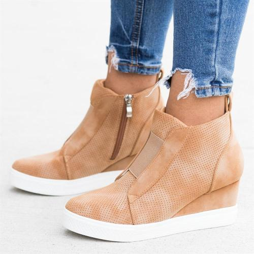 Spring Autumn Boots Women Wedges Heel Inner Heel Height Increasing Pumps Shoes Ankle Short Zip Boto Plus Size