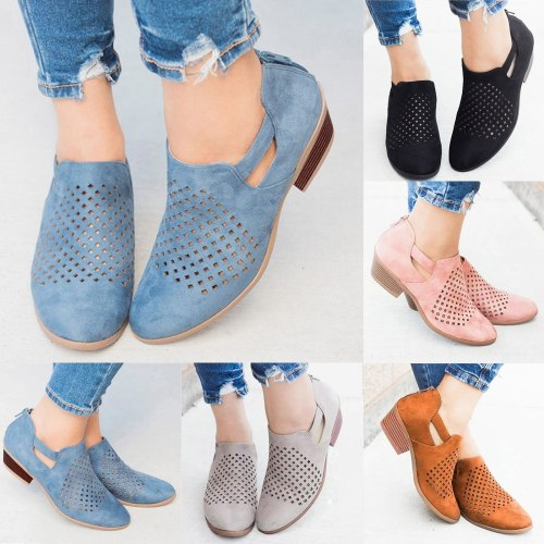 Fashion Women's Boots Plus Size Shoes Hollow Out Breathable Chunky High Heels Retro Zipper Short Boots Comfortable Ankle Shoes
