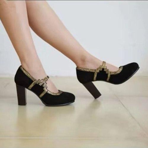 Plus Size 34-43 Female Round toe High Heels Flock Gladiator Shoes Thick Heel Fashion Belt Buckle Women Party Wedding Pumps