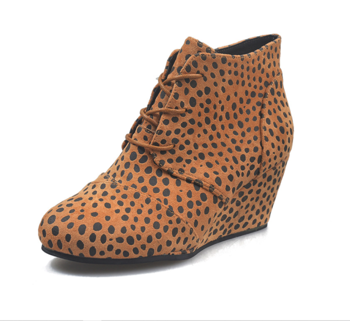 Wedges Shoes Women Autumn High Top Sneakers Lace Up 2021 New Lady Sexy Leopard Platform Casual Shoes Wedgae Shoes Lady