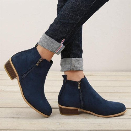 2020 Spring Women Ankle Boots Square Mid Heel Zip Shoes Woman Pointed Toe Shoes Female Classic Blue Autumn Boots Plus Size 42 43