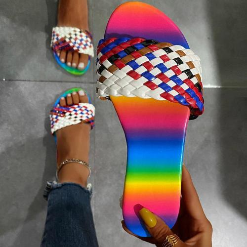 2021 Women's Slippers Summer New Rubber Sandals Shoes Mixed Color Ladies Footwear Female Shoes Outdoor Comfortable PU Flip Flops