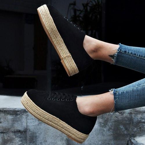 Brand New Large Sizes 43 Women Shoes Fashion Flat Platform Straw Shoelaces Spring Autumn Shoes