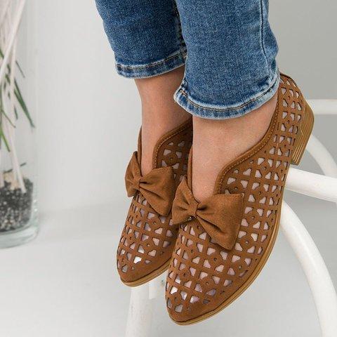 2021 Summer Loafers Bowtie Women Flats Pointed Toe Spring Shoes For Woman Platform Female Slip On Fotwear Women's Plus Size