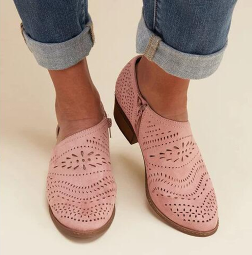 2021 Fashion Women Boots Summer Autumn Block Low Heel Ladies Booties PU Leather Botines Hollow Out Ankle Platform Botas