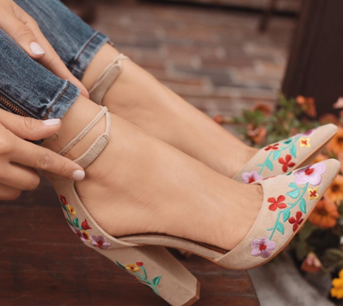 Women High Heels Embroidery Pumps Flower Ankle Strap Shoes Female Two Piece Sexy Party Wedding Pointed Toe