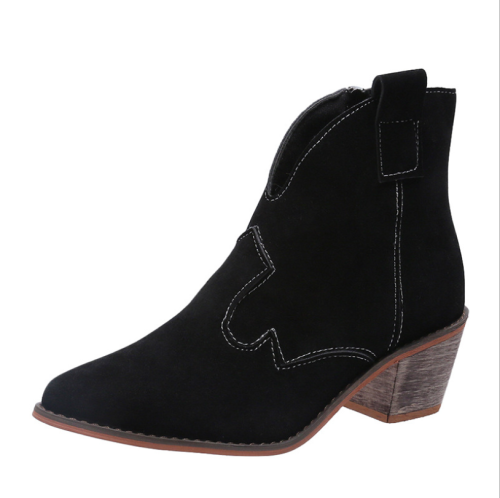 Women  Ankle Boots Autumn  Flocking Fashion Chelsea Pointed Toe Med Heel Ladies Boots Slip on Sexy Ladies Party Shoes 34-43
