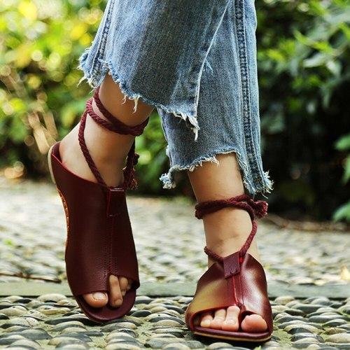 Flats Shoes Leather Gladiator  Summer Sandals Women Ankle Strap Femme Sandale 2021 Slippers Beach Flip Flops