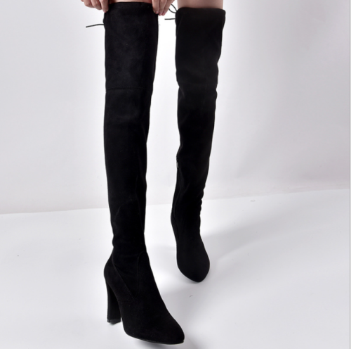 2021 Women Over The Knee High Boots Hoof Heels Winter Shoes Pointed Toe Sexy Elastic Fabric Women Boots Plus Size 35-43