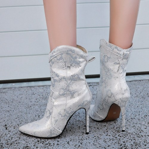 Sexy Girl Elegant Fashion Boots Pointed Toe Snake Print High Heels Boots Women Thin Heel Brand Ankle Shoes Woman