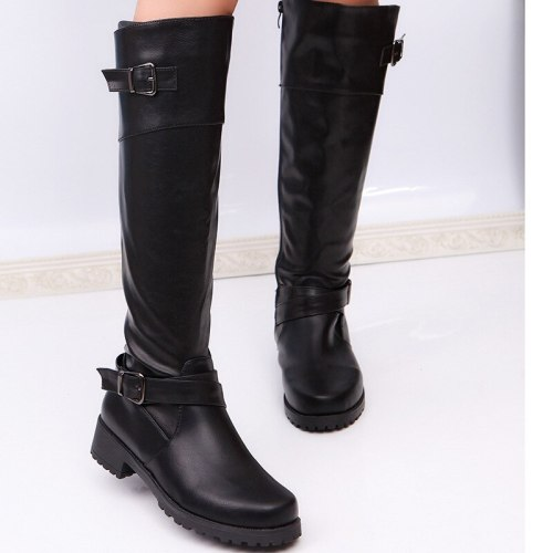 Winter Warm Fur Knee High Boots Womens Snow Boots High Heels Side Zipper Female Shoes Black Brown green Large Size43
