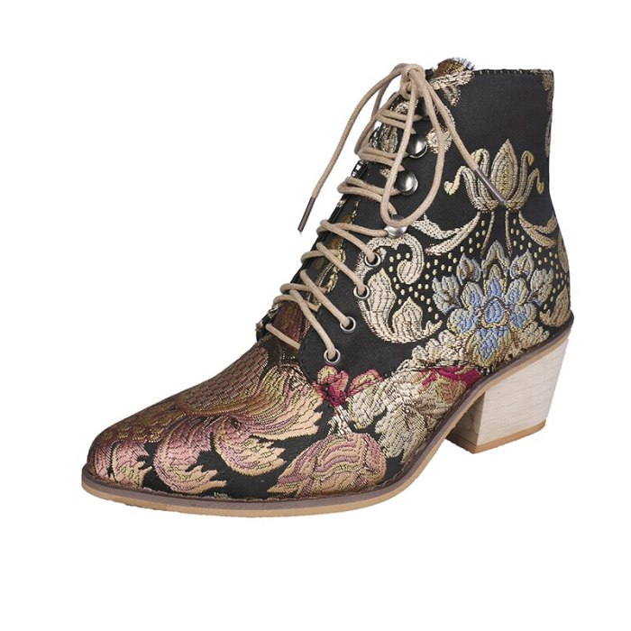 Lace-Up warm Boots Women Pointed Toe Flower Boots Microfiber Leather Ankle Boots Women Botines Luxury Botas Mujer comfortable