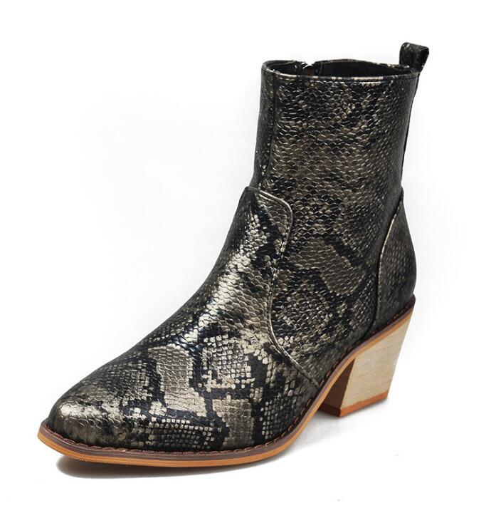 2021 Plus Size Women Boots 11cm High Heels Fetish Stripper Serpentine Ankle Boots Prom Snake Print Block Heels Chunky Red Shoes