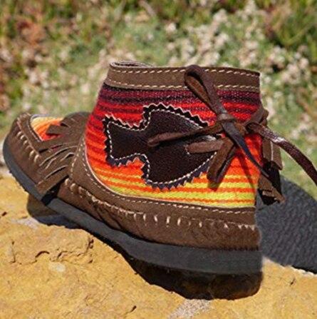 Women Tassel Stripe Ankle Boots 2021 Women's Sewing Warm Woman Flats Female Shoe Ladies Casual Hook Loops Footwear Plus Size 43