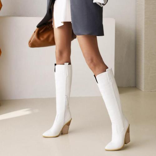 Crocodile Embossed PU Knee-High Boots Women Pointed Toe Slip-On Super High Heels Shoes Women Luxury Fashion