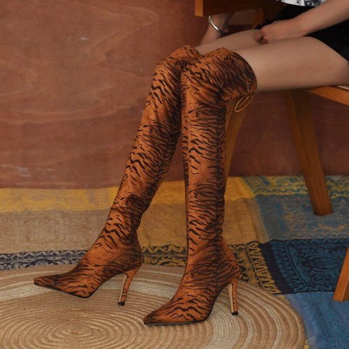 2021 leopard-print snake-print dragon-print boots women's high-heeled boots pointed sexy high-top over the knee plus cashmere