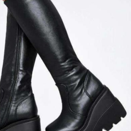Ladies fashion platform boots chunky heel wedges mid calf women  boots casual brand thick bottom winter shoes woman