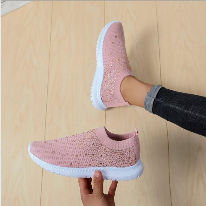 2021 New Women Crystal Sneakers Spring Autumn Casual Zipper Flat Shoes women Non-slip Breathable Outdoor Vulcanized Shoes woman