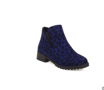 Rinding Botas Femininas Flock Square Heels 3.5cm Boots Big Size 45 46 Autumn Ankle Comfort Booties Lady Shoes Round Toe Leopard
