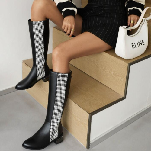 Suede Ladies Knee High Boots Spring Autumn Fashion Belt Buckle Square Toe Knight Boots Winter Comfortable Low-Heel Shoes