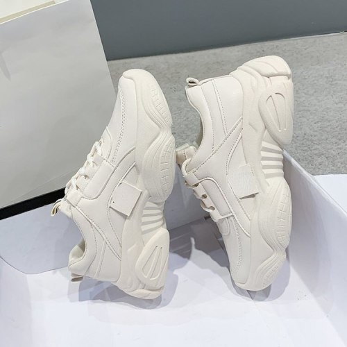 Women's sports shoes lace up thick soled casual shoes women's leather comfortable walking shoes fashion new sports shoes