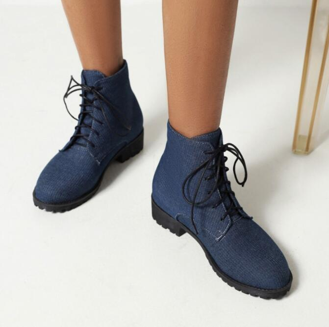 Big Size boots women shoes ankle boots for women ladies boots shoes woman winter Cross strap with flat round head
