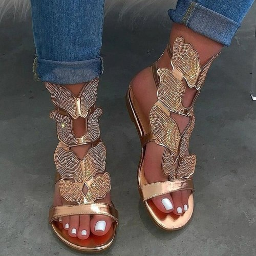 2021 New Summer Fashion Rhinestone Sandal Women Butterfly Soft Non-slip Flat Shoes Female Casual Breathable Outdoor Beach Sandal