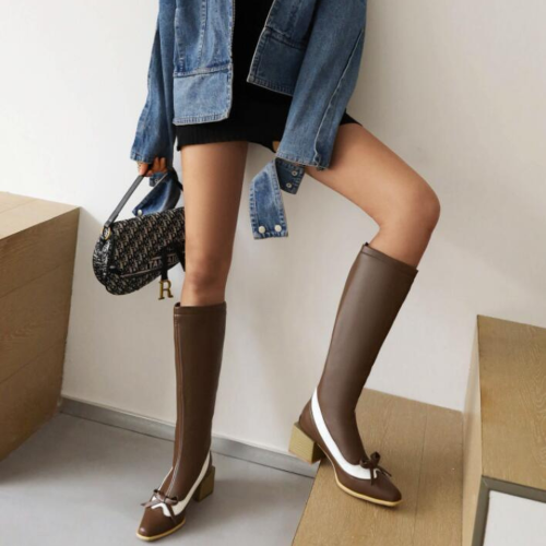 Western Boots Fashion Wedding Pointed Toe Women Knee High Boots Slip on Boots Autumn Winter Shoes Big Size 43 Blue Black Brown