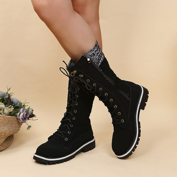 2021 Fashion Winter Warm Boots Rivet Knight Casual Shoes Side Zipper Boots Outdoor Non-Slip Tall Tube Boots Knitted Ladies Shoes