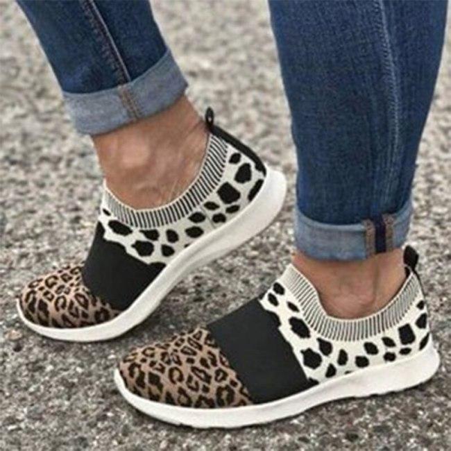 Women Leopard Sneakers Woman Mesh Breathable Vulcanized 2021 Autumn Women's Casual Flats Ladies Tennis Shoes Female Plus Size