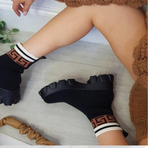 2021 Autumn Winter New Couple Socks Shoes Women Thick-soled Casual Large Size Net Red Knitted Short Boots Women botas de mujer
