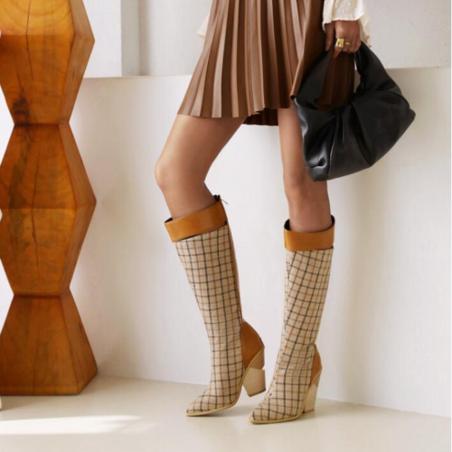 European and American fashion pointed toe stiletto boots snake pattern sleeve long tube women's boots winter women's shoes