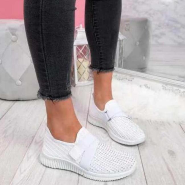 Women Casual Shoes Spring Crystal Solid Female Mesh Sneakers Casual Flat Shoes Women Flats Ladies Sport Shoes White