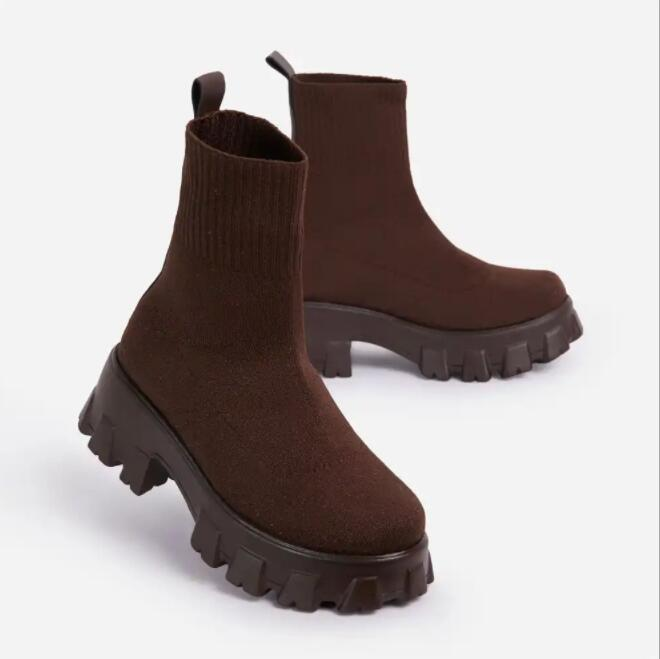 Women's Boots 2021 Autumn Winter New High Quality Cloth Fashion Socks Boots Comfortable Mesh Breathable Flats Sport Short Boots
