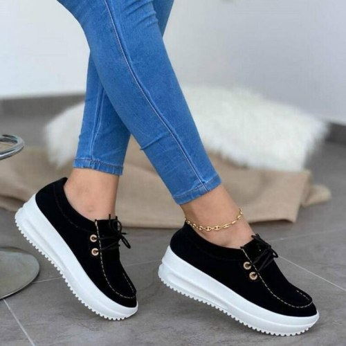 NEW Fashion Platform Sneakers Women Shoes Thick Bottom Casual Shoes Female Breathable Lace-up Solid Shoes Woman