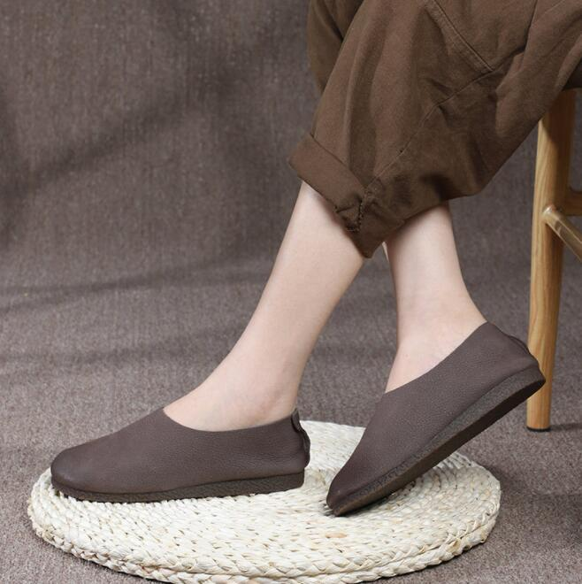 Women's Shoes Slip on Ballet Flats 100% Genuine Leather Flat Female Shoes Summer Ballerina Flats Casual Barefoot Shoes