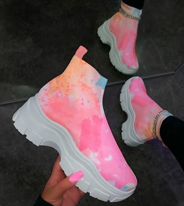 High Top Women Casual Sneakers Breathable Stretch Colorful Women's Thick Bottom Sports Running Shoes  Woman Sneakers