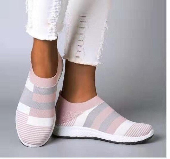 Womens Casual Shoes Woman Mesh Sneakers 2021 New Spring Knitted Flat Ladies Slip on Female Footwear Plus Size 35-43