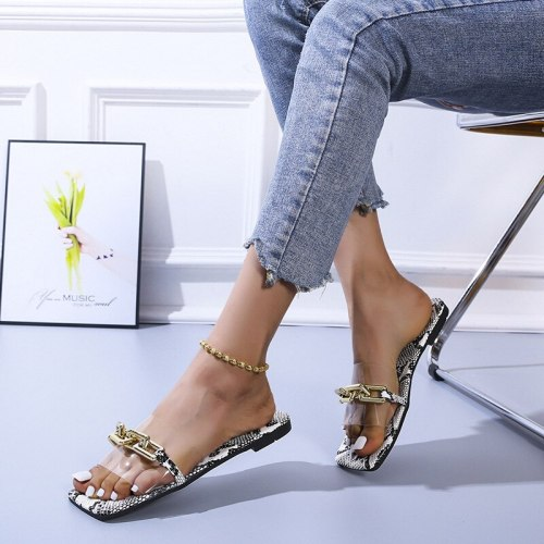 2021 New European and American Flat Metal Chain Leisure Word Beach Sandals Large Size Sandals And Slippers Women