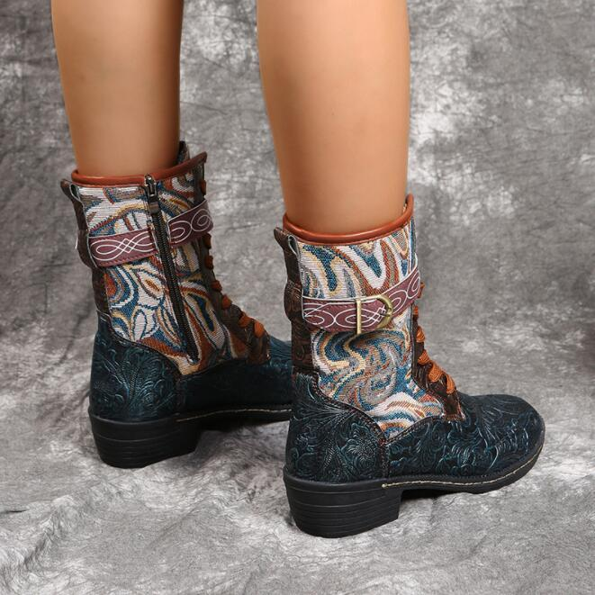 Retro Floral Embossed Leather Splicing Tribal Pattern Cloth Comfy Wearable Short Boots Casual Elegant Women's shoes