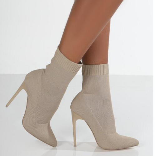 2021 New Autumn Winter Women Boots Solid Knitting Thin High Heel Ankle Boot Ladies Pointed Toe Fashion Party Women's Shoes