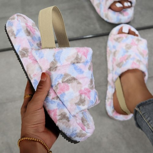 Fur Home Slippers Fluffy Women Slides Comfort Furry Flat Sandals Female Cute Slippers Shoes For Woman Indoor Flip Flops