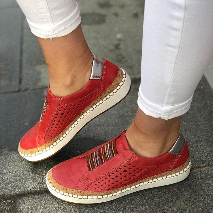 2021 Spring Slip On Sneakers Shallow Loafers Women Vulcanized Shoes Breathable Hollow Out Female Casual Flats Ladies Comfortable