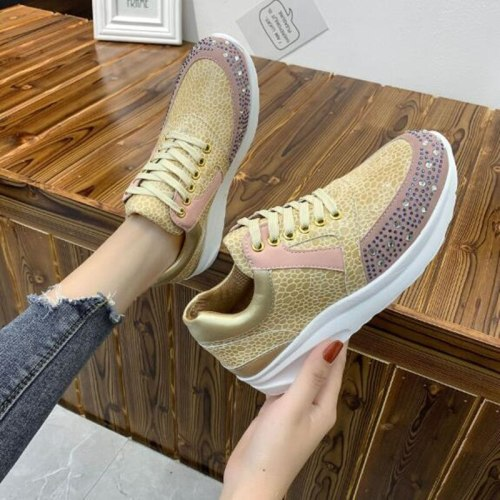 2021 Women Casual Shoes Fashion Wedge Flat Shoes Lace Up Comfortable Ladies Sneakers Female Vulcanized Glitter Bling Shoes Women