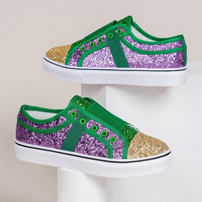 Low-Cut Sequins Canvas Lady  Shoes Casual Slip  Female Footwear Without Laces On Color-Matching Sneakers Women  shoes