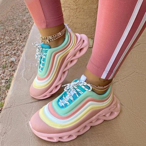 Women Sneakers 2021 Autumn Rainbow Platfrom Chunky  Comfortable Brand Designer Ladies Sports Shoes Ourdoor Running