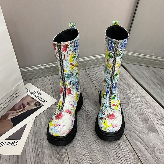 Women Knee High Boots Full  Leather Warm Boots Thick High Heels Motorcycle Boots Punk Shoes Woman High Boots