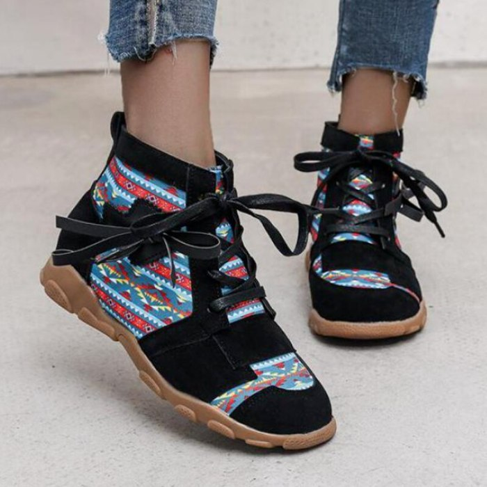 Fashion 2021 Spring Autumn Embroidered Women Boots Boho Ladies Round Head Short Boots Female Lace-up Boots Casual Women's Boots